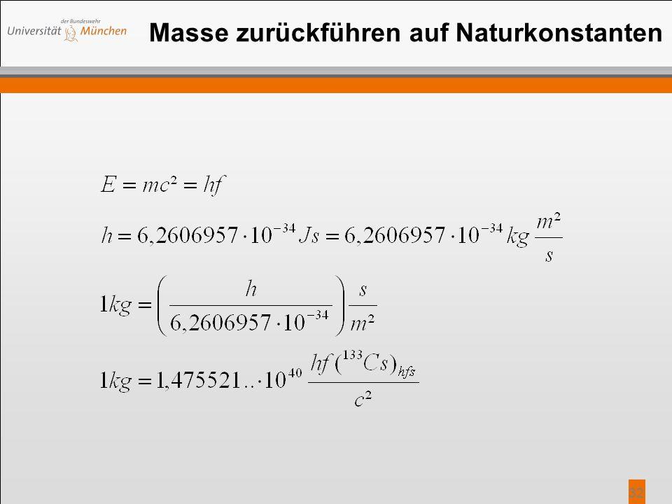 Masse zurückführen auf Naturkonstanten 32
