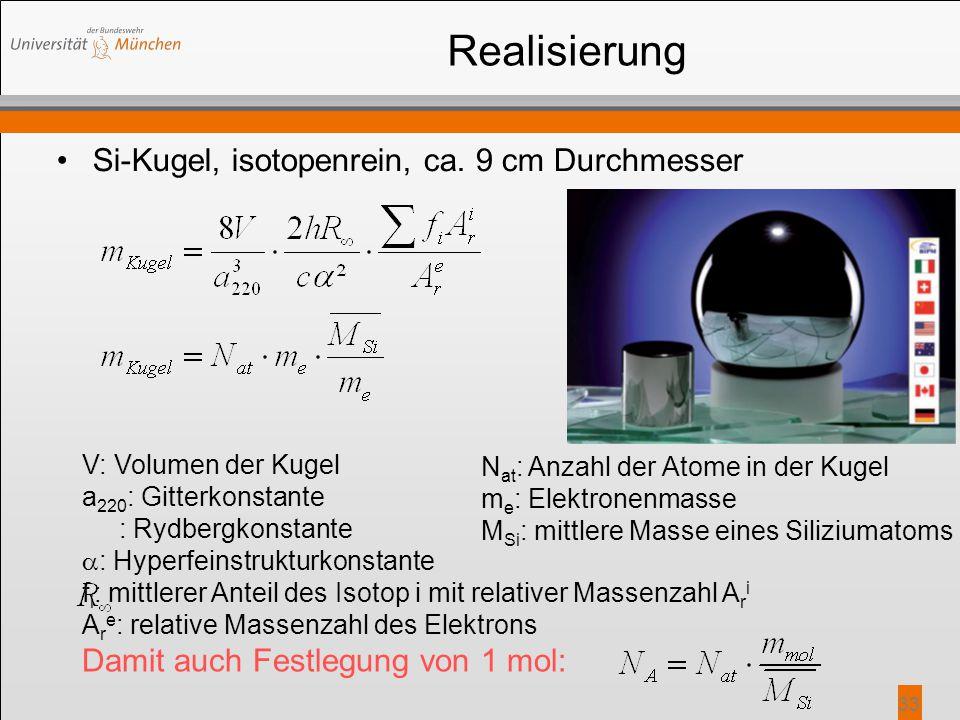 Realisierung Si-Kugel, isotopenrein, ca. 9 cm Durchmesser 33 V: Volumen der Kugel a 220 : Gitterkonstante : Rydbergkonstante  : Hyperfeinstrukturkons