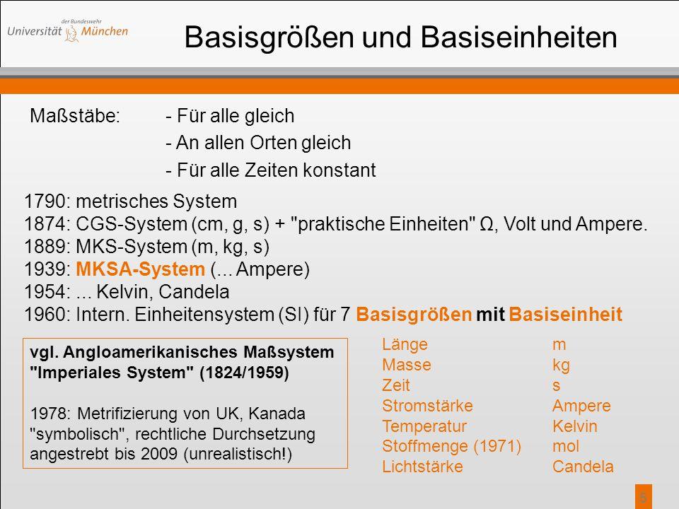 5 Basisgrößen und Basiseinheiten Maßstäbe:- Für alle gleich - An allen Orten gleich - Für alle Zeiten konstant 1790: metrisches System 1874: CGS-Syste