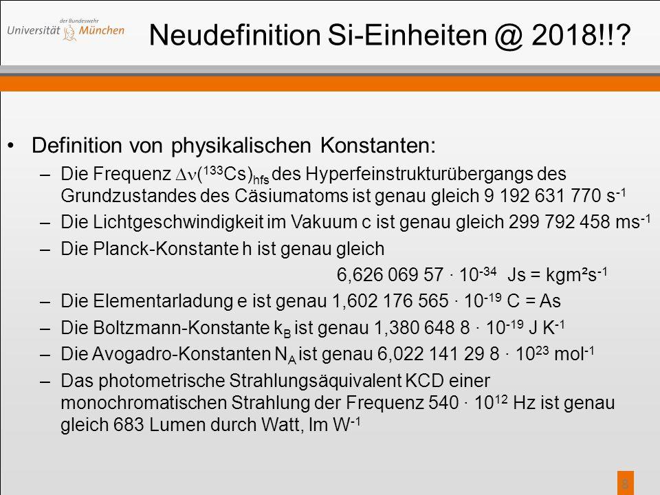Neudefinition Si-Einheiten @ 2018!!? Definition von physikalischen Konstanten: –Die Frequenz  ( 133 Cs) hfs des Hyperfeinstrukturübergangs des Grundz