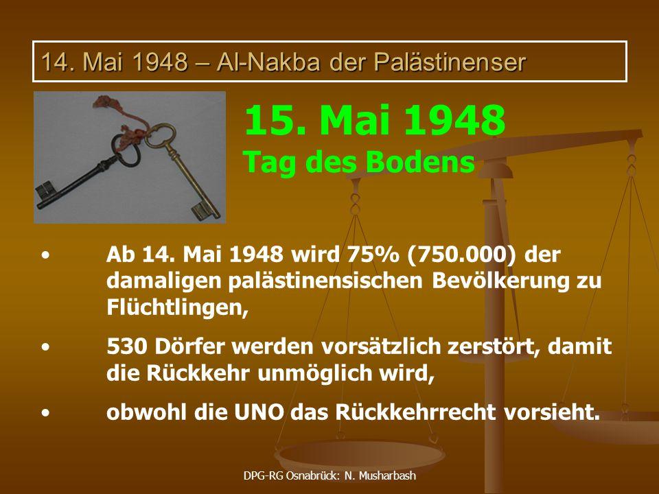 DPG-RG Osnabrück: N. Musharbash 14. Mai 1948 – Al-Nakba der Palästinenser Ab 14. Mai 1948 wird 75% (750.000) der damaligen palästinensischen Bevölkeru