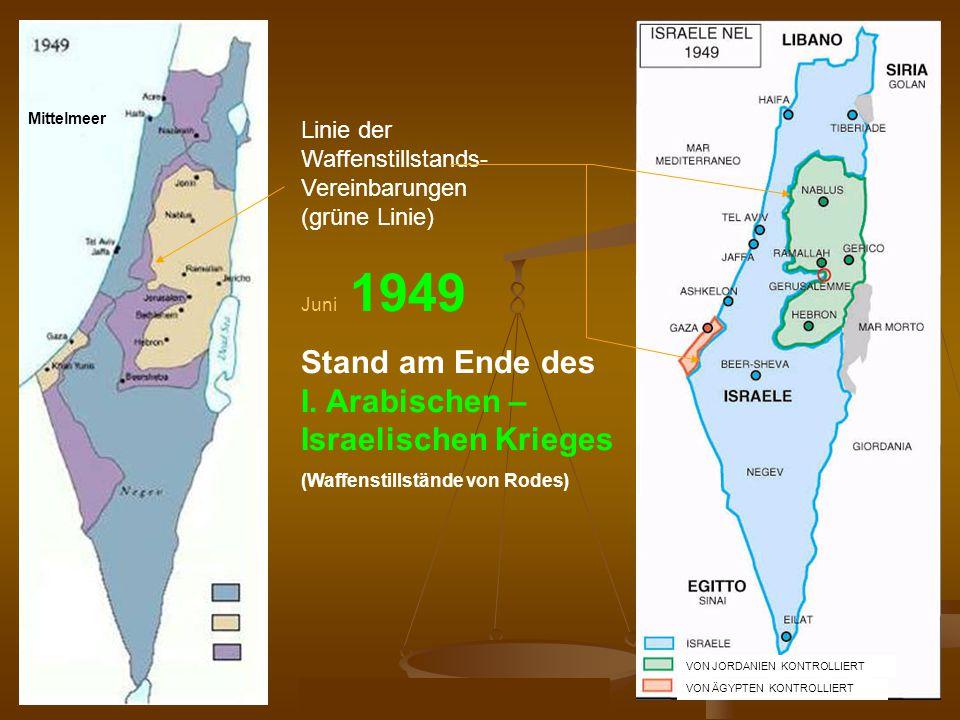 DPG-RG Osnabrück: N. Musharbash 11 Mittelmeer Linie der Waffenstillstands- Vereinbarungen (grüne Linie) Israel Palestina Juni 1949 Stand am Ende des I