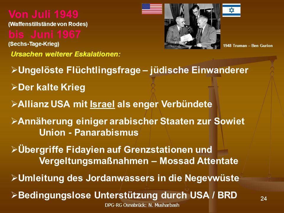DPG-RG Osnabrück: N. Musharbash 24 Ursachen weiterer Eskalationen:  Ungelöste Flüchtlingsfrage – jüdische Einwanderer  Der kalte Krieg  Allianz USA