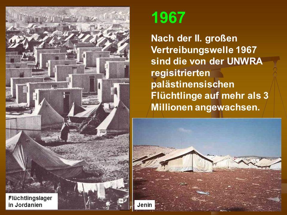 DPG-RG Osnabrück: N. Musharbash 35 1967 Nach der II. großen Vertreibungswelle 1967 sind die von der UNWRA regisitrierten palästinensischen Flüchtlinge