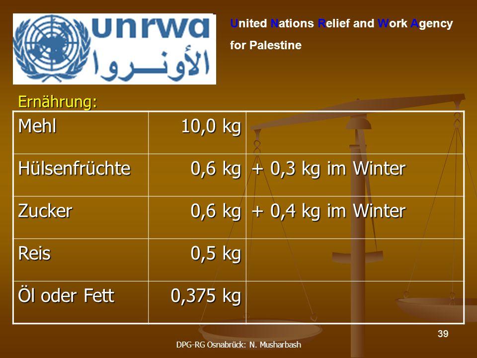 DPG-RG Osnabrück: N. Musharbash 39 United Nations Relief and Work Agency for Palestine Ernährung:Mehl 10,0 kg Hülsenfrüchte 0,6 kg + 0,3 kg im Winter