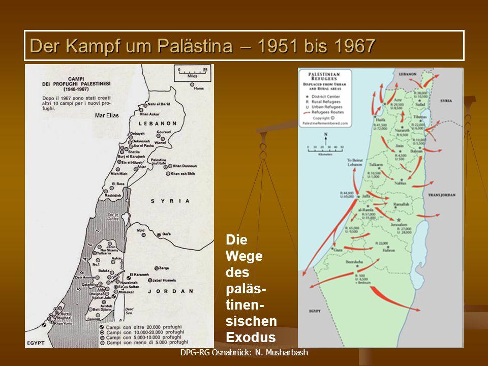 DPG-RG Osnabrück: N. Musharbash 55 Mar Elias Die Wege des paläs- tinen- sischen Exodus Der Kampf um Palästina – 1951 bis 1967