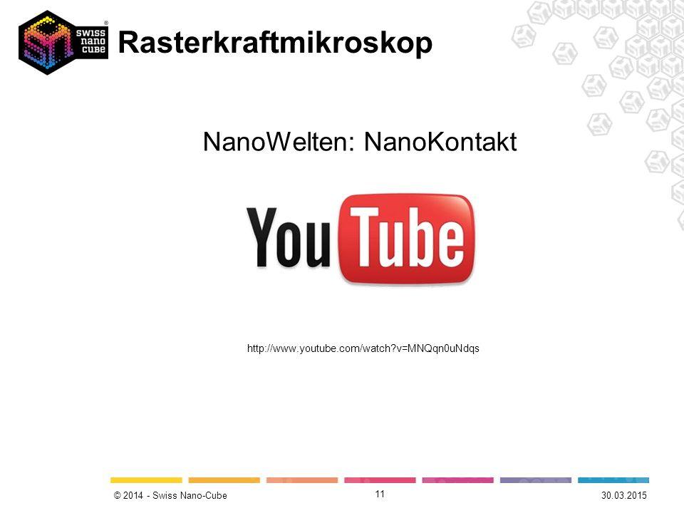 © 2014 - Swiss Nano-Cube Rasterkraftmikroskop 11 http://www.youtube.com/watch?v=MNQqn0uNdqs NanoWelten: NanoKontakt 30.03.2015
