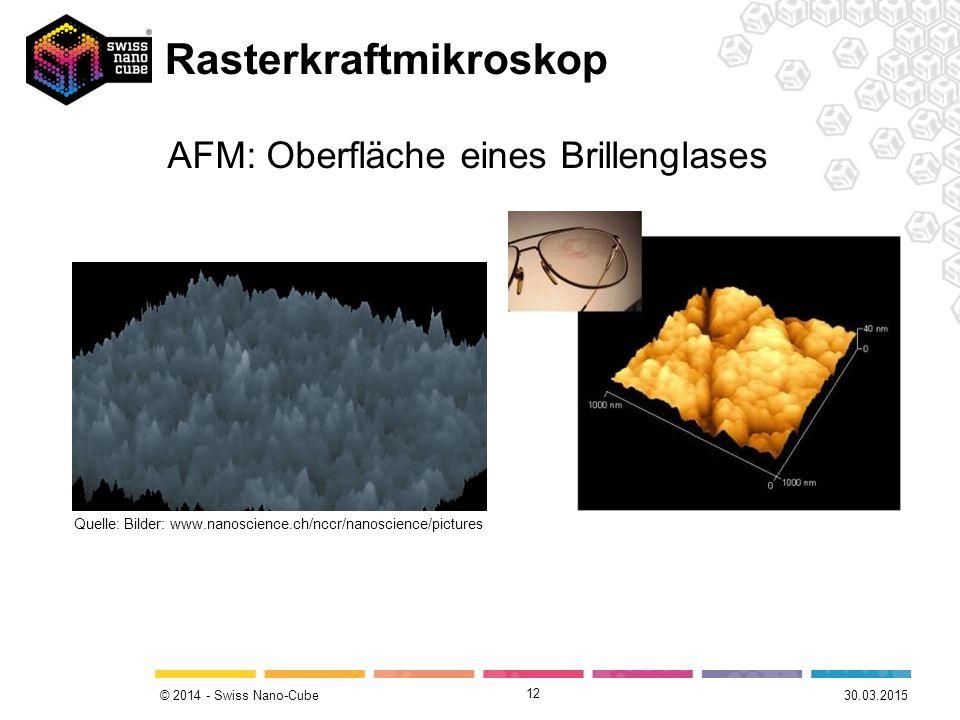 © 2014 - Swiss Nano-Cube Rasterkraftmikroskop 12 Quelle: Bilder: www.nanoscience.ch/nccr/nanoscience/pictures AFM: Oberfläche eines Brillenglases 30.03.2015