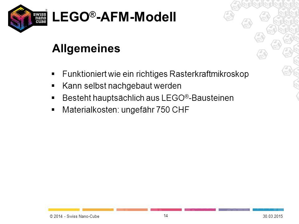© 2014 - Swiss Nano-Cube  Funktioniert wie ein richtiges Rasterkraftmikroskop  Kann selbst nachgebaut werden  Besteht hauptsächlich aus LEGO ® -Bausteinen  Materialkosten: ungefähr 750 CHF 14 30.03.2015 LEGO ® -AFM-Modell Allgemeines