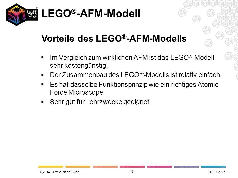 © 2014 - Swiss Nano-Cube  Im Vergleich zum wirklichen AFM ist das LEGO ® -Modell sehr kostengünstig.