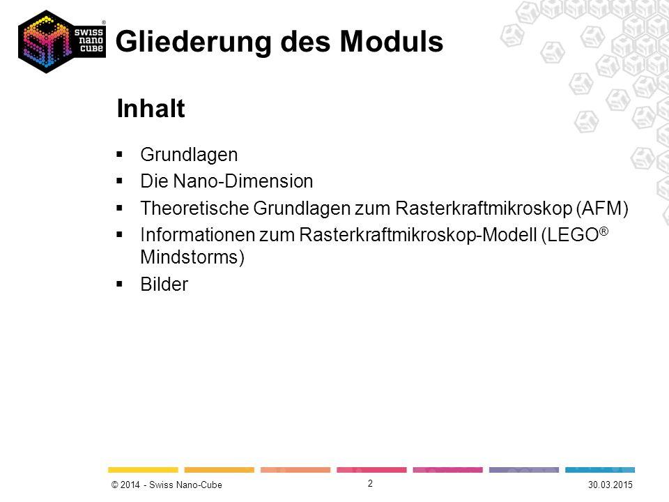 © 2014 - Swiss Nano-Cube Gliederung des Moduls  Grundlagen  Die Nano-Dimension  Theoretische Grundlagen zum Rasterkraftmikroskop (AFM)  Informationen zum Rasterkraftmikroskop-Modell (LEGO ® Mindstorms)  Bilder 2 30.03.2015 Inhalt