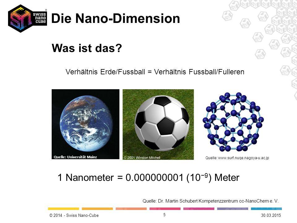 © 2014 - Swiss Nano-Cube Die Nano-Dimension 5 Quelle: Universität Mainz Quelle: www.surf.nuqe.nagoya-u.ac.jp Verhältnis Erde/Fussball = Verhältnis Fussball/Fulleren Quelle: Dr.