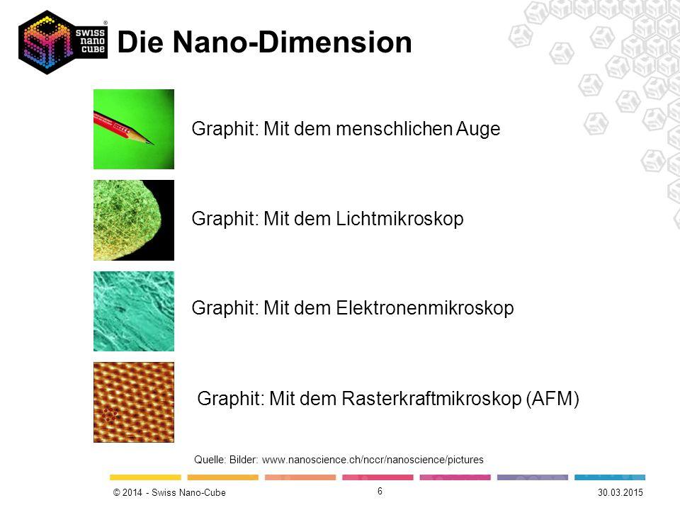 © 2014 - Swiss Nano-Cube Die Nano-Dimension 6 Graphit: Mit dem menschlichen Auge Graphit: Mit dem Lichtmikroskop Graphit: Mit dem Elektronenmikroskop Graphit: Mit dem Rasterkraftmikroskop (AFM) Quelle: Bilder: www.nanoscience.ch/nccr/nanoscience/pictures 30.03.2015