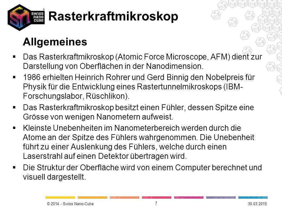 © 2014 - Swiss Nano-Cube  Das Rasterkraftmikroskop (Atomic Force Microscope, AFM) dient zur Darstellung von Oberflächen in der Nanodimension.