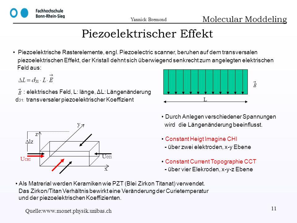 Yannick Bremond Quelle:www.monet.physik.unibas.ch 11 Piezoelektrischer Effekt Molecular Moddeling x y z Piezoelektrische Rasterelemente, engl. Piezoel