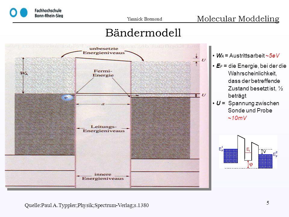 Yannick Bremond Quelle:Paul A.Typpler;Physik;Spectrum-Verlag;s.1380 5 Bändermodell Molecular Moddeling W A = Austrittsarbeit ~5eV E F = die Energie, b
