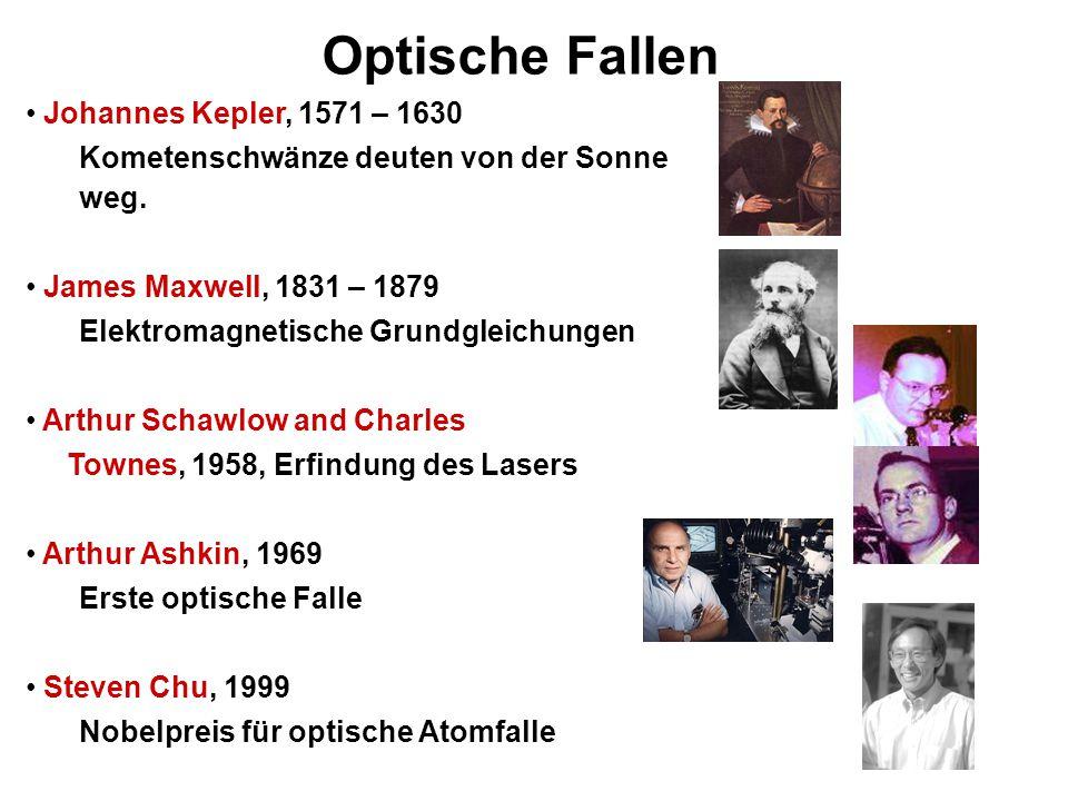 Optische Fallen Johannes Kepler, 1571 – 1630 Kometenschwänze deuten von der Sonne weg. James Maxwell, 1831 – 1879 Elektromagnetische Grundgleichungen