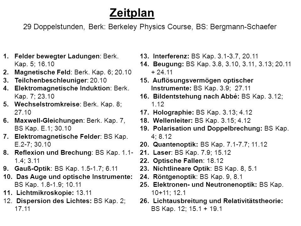 29 Doppelstunden, Berk: Berkeley Physics Course, BS: Bergmann-Schaefer 1.Felder bewegter Ladungen: Berk. Kap. 5; 16.10 2.Magnetische Feld: Berk. Kap.