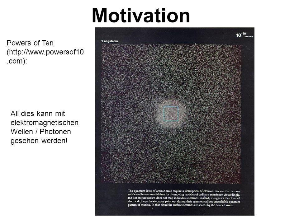 Motivation Powers of Ten (http://www.powersof10.com): All dies kann mit elektromagnetischen Wellen / Photonen gesehen werden!