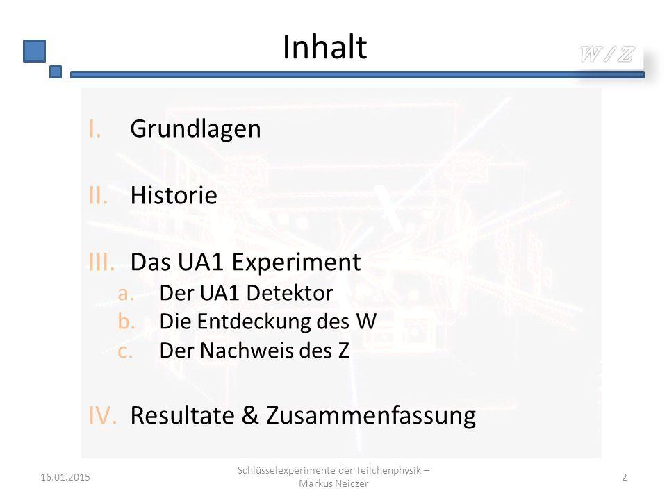 Inhalt I.Grundlagen II.Historie III.Das UA1 Experiment a.Der UA1 Detektor b.Die Entdeckung des W c.Der Nachweis des Z IV.Resultate & Zusammenfassung 1