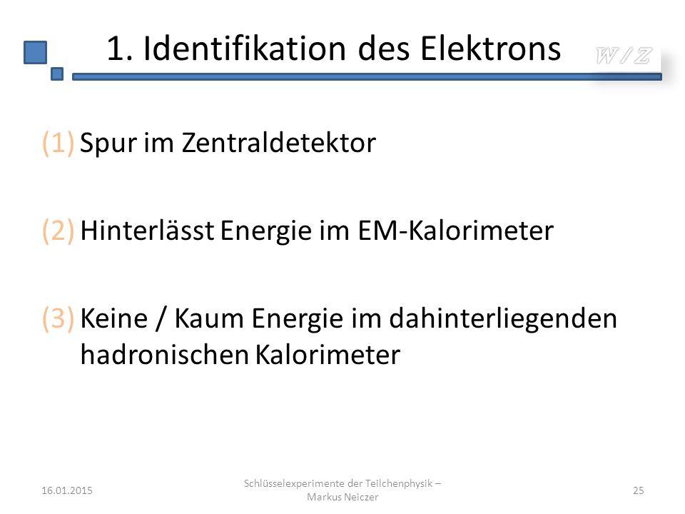 1. Identifikation des Elektrons (1)Spur im Zentraldetektor (2)Hinterlässt Energie im EM-Kalorimeter (3)Keine / Kaum Energie im dahinterliegenden hadro