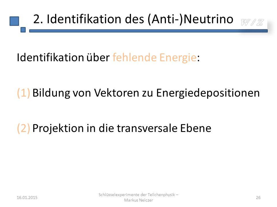 Identifikation über fehlende Energie: (1)Bildung von Vektoren zu Energiedepositionen (2)Projektion in die transversale Ebene 16.01.2015 Schlüsselexper