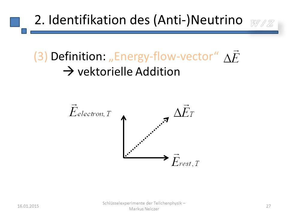 """16.01.2015 Schlüsselexperimente der Teilchenphysik – Markus Neiczer 27 2. Identifikation des (Anti-)Neutrino (3) Definition: """"Energy-flow-vector""""  ve"""