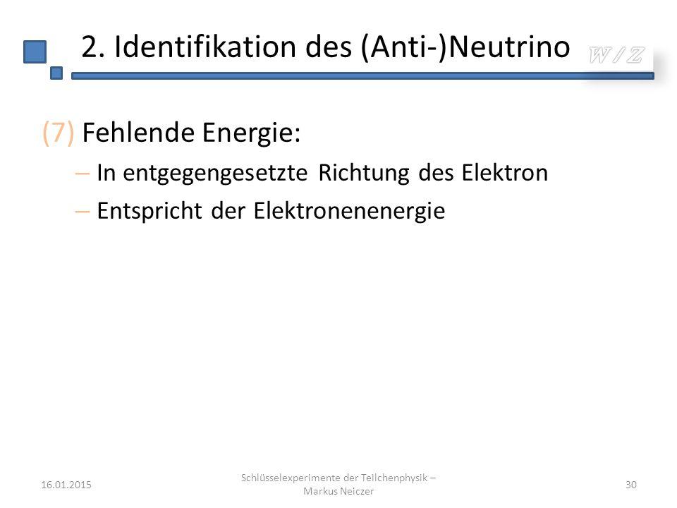 16.01.2015 Schlüsselexperimente der Teilchenphysik – Markus Neiczer 30 2. Identifikation des (Anti-)Neutrino (7) Fehlende Energie: – In entgegengesetz