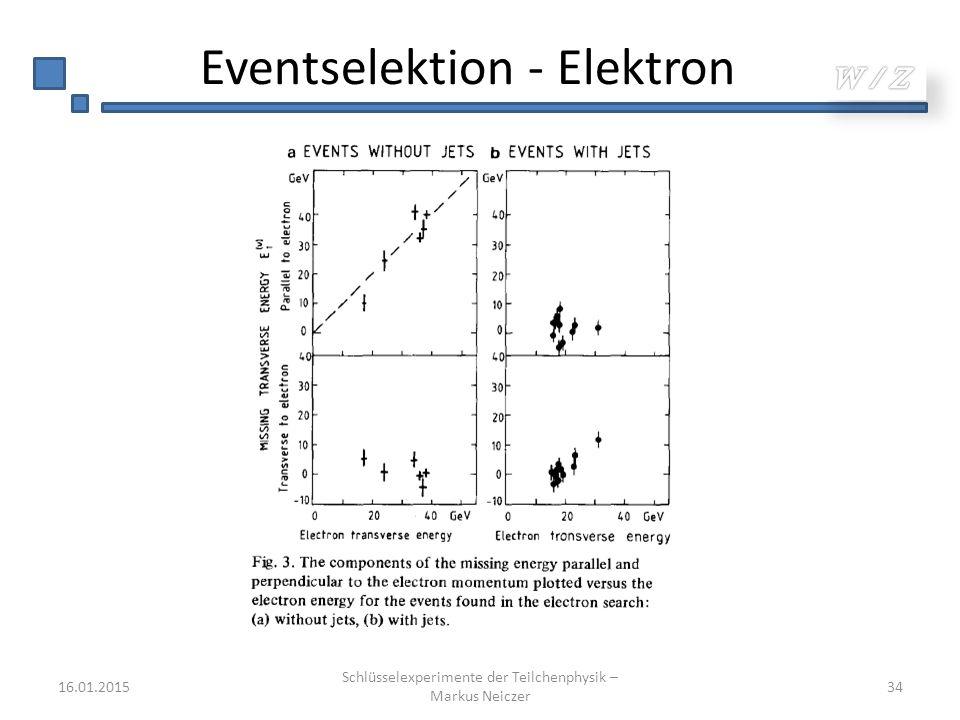 Eventselektion - Elektron 16.01.2015 Schlüsselexperimente der Teilchenphysik – Markus Neiczer 34