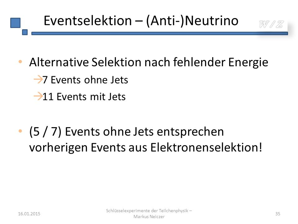 Eventselektion – (Anti-)Neutrino Alternative Selektion nach fehlender Energie  7 Events ohne Jets  11 Events mit Jets (5 / 7) Events ohne Jets entsprechen vorherigen Events aus Elektronenselektion.