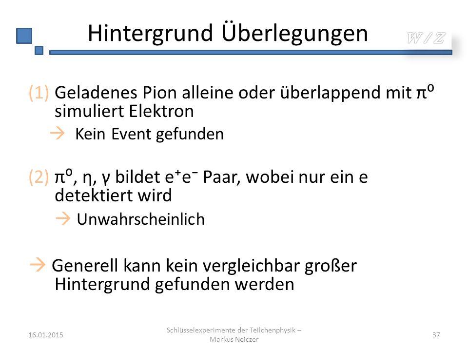 Hintergrund Überlegungen (1)Geladenes Pion alleine oder überlappend mit π⁰ simuliert Elektron  Kein Event gefunden (2)π⁰, η, γ bildet e⁺e⁻ Paar, wobe