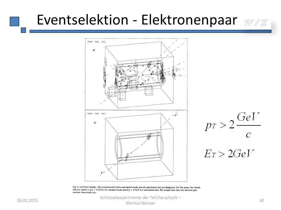 Eventselektion - Elektronenpaar 16.01.2015 Schlüsselexperimente der Teilchenphysik – Markus Neiczer 43