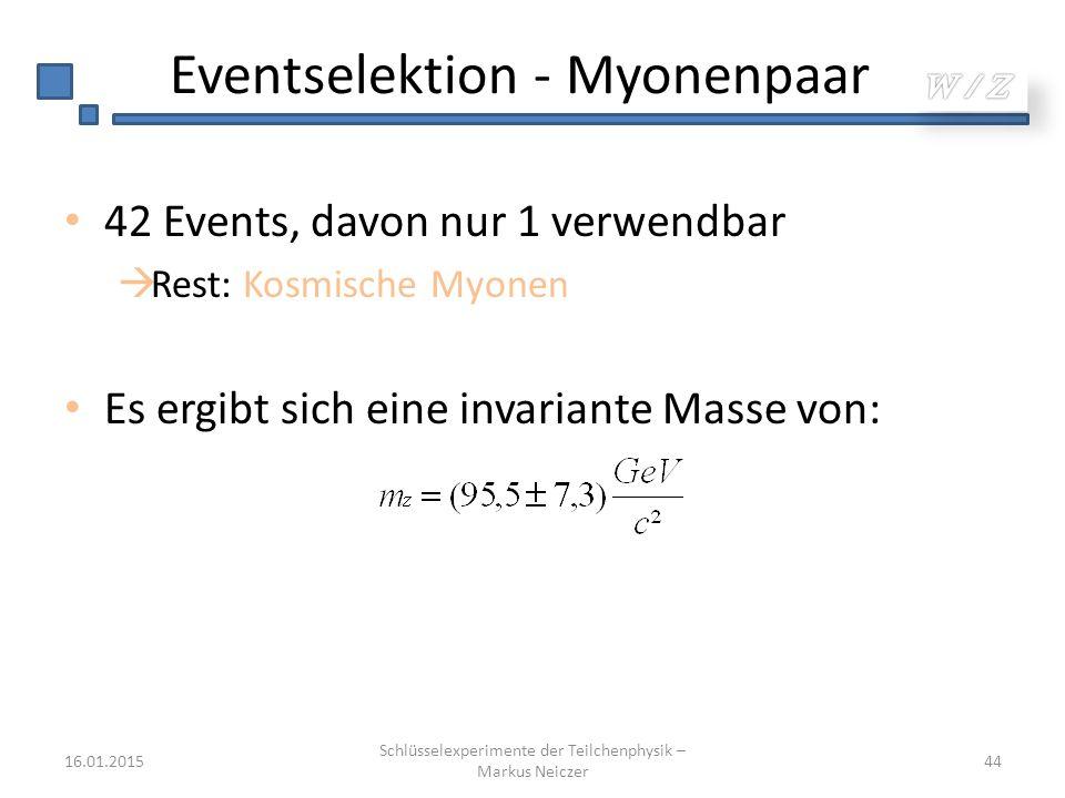 Eventselektion - Myonenpaar 42 Events, davon nur 1 verwendbar  Rest: Kosmische Myonen Es ergibt sich eine invariante Masse von: 16.01.2015 Schlüssele