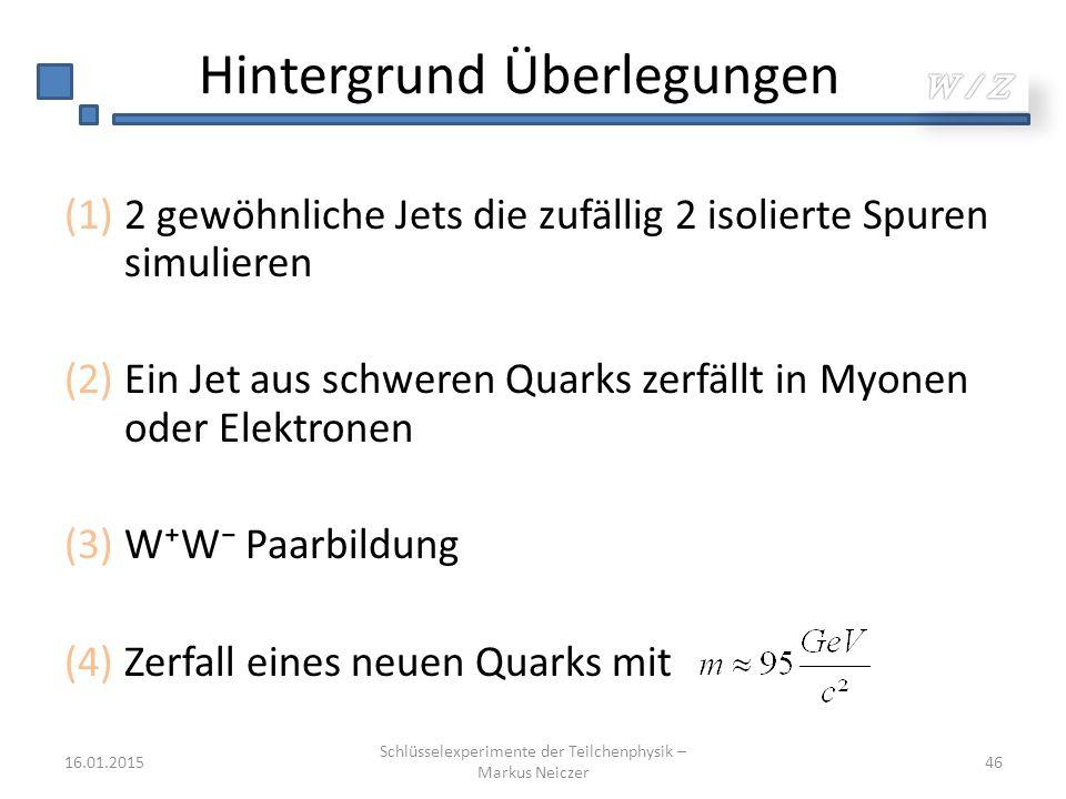 Hintergrund Überlegungen (1)2 gewöhnliche Jets die zufällig 2 isolierte Spuren simulieren (2)Ein Jet aus schweren Quarks zerfällt in Myonen oder Elekt