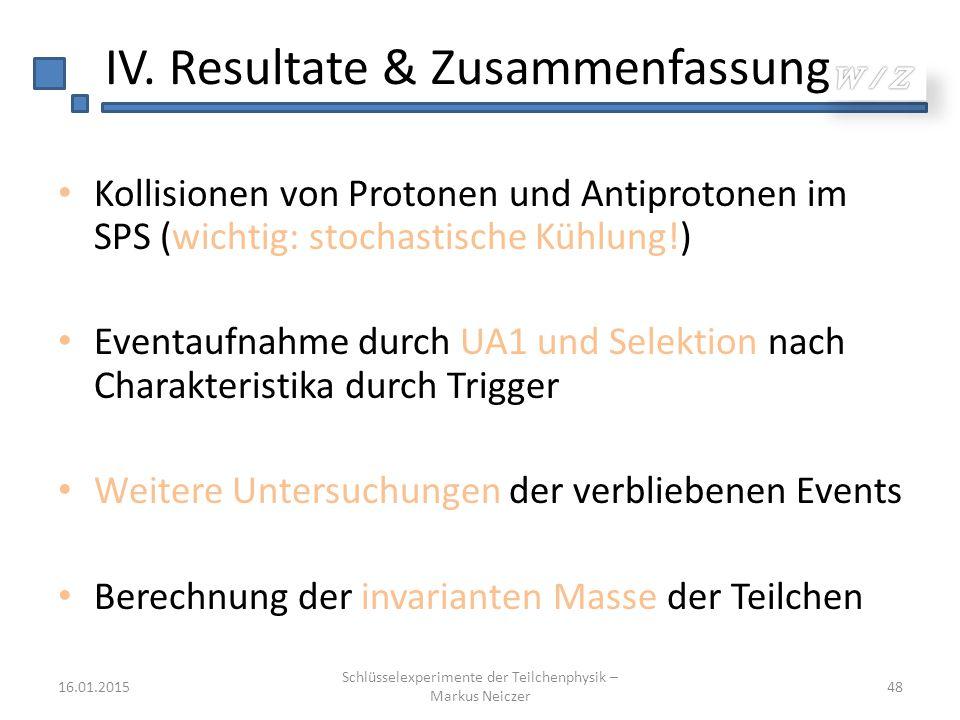 IV. Resultate & Zusammenfassung Kollisionen von Protonen und Antiprotonen im SPS (wichtig: stochastische Kühlung!) Eventaufnahme durch UA1 und Selekti