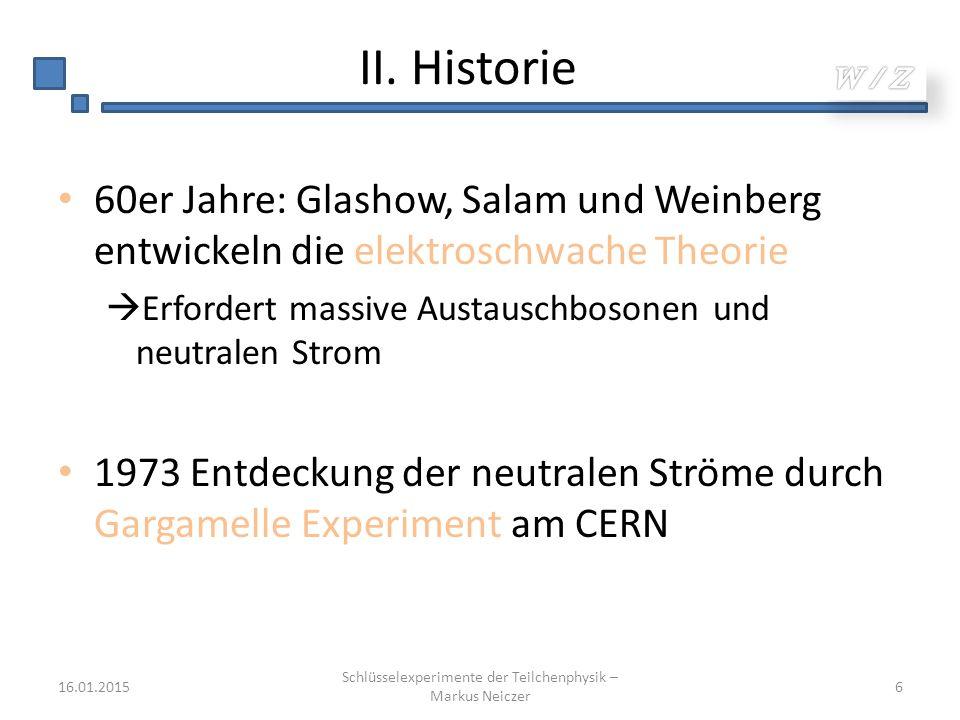 II. Historie 60er Jahre: Glashow, Salam und Weinberg entwickeln die elektroschwache Theorie  Erfordert massive Austauschbosonen und neutralen Strom 1