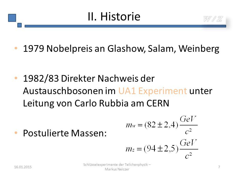II. Historie 1979 Nobelpreis an Glashow, Salam, Weinberg 1982/83 Direkter Nachweis der Austauschbosonen im UA1 Experiment unter Leitung von Carlo Rubb
