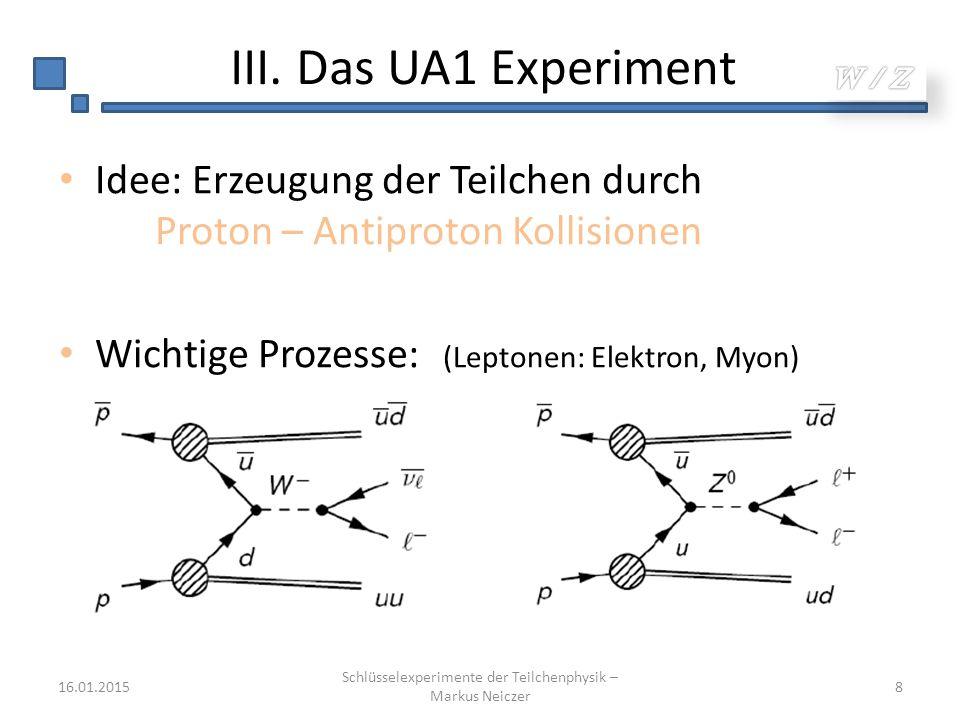 III. Das UA1 Experiment Idee: Erzeugung der Teilchen durch Proton – Antiproton Kollisionen Wichtige Prozesse: (Leptonen: Elektron, Myon) 16.01.2015 Sc