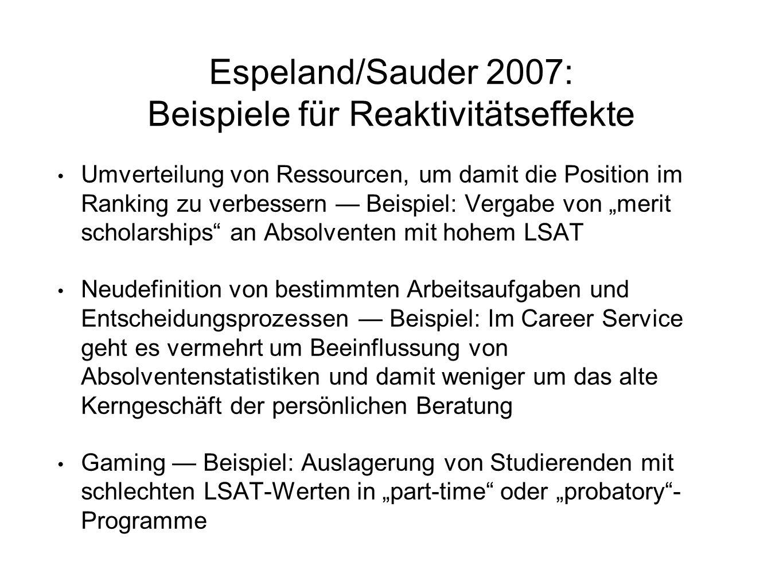 Espeland/Sauder 2007: Beispiele für Reaktivitätseffekte Umverteilung von Ressourcen, um damit die Position im Ranking zu verbessern — Beispiel: Vergab