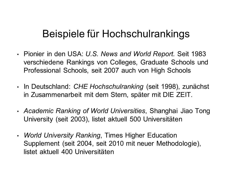 Beispiele für Hochschulrankings Pionier in den USA: U.S. News and World Report. Seit 1983 verschiedene Rankings von Colleges, Graduate Schools und Pro