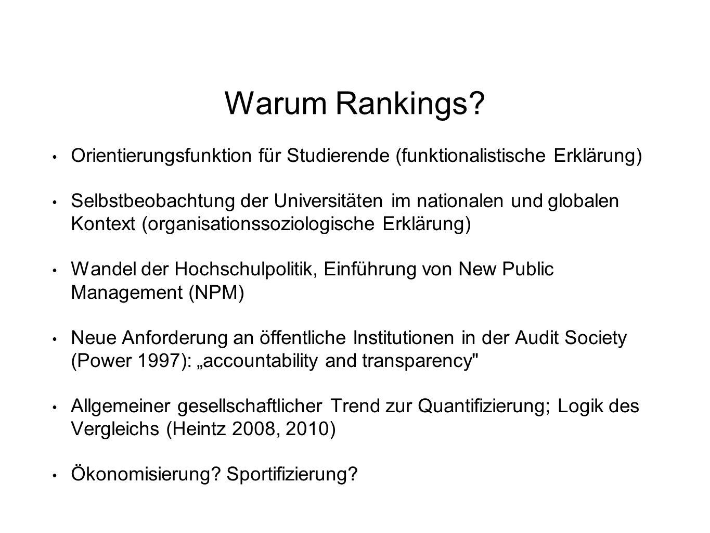 Warum Rankings? Orientierungsfunktion für Studierende (funktionalistische Erklärung) Selbstbeobachtung der Universitäten im nationalen und globalen Ko