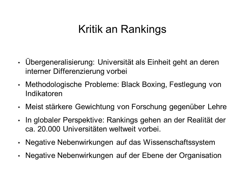 Kritik an Rankings Übergeneralisierung: Universität als Einheit geht an deren interner Differenzierung vorbei Methodologische Probleme: Black Boxing,