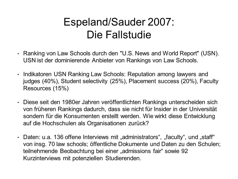 Espeland/Sauder 2007: Die Fallstudie Ranking von Law Schools durch den
