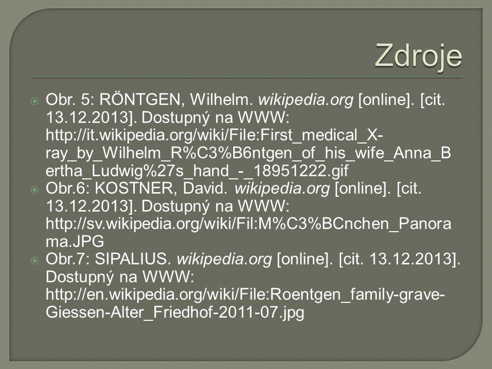  Obr. 5: RÖNTGEN, Wilhelm. wikipedia.org [online].