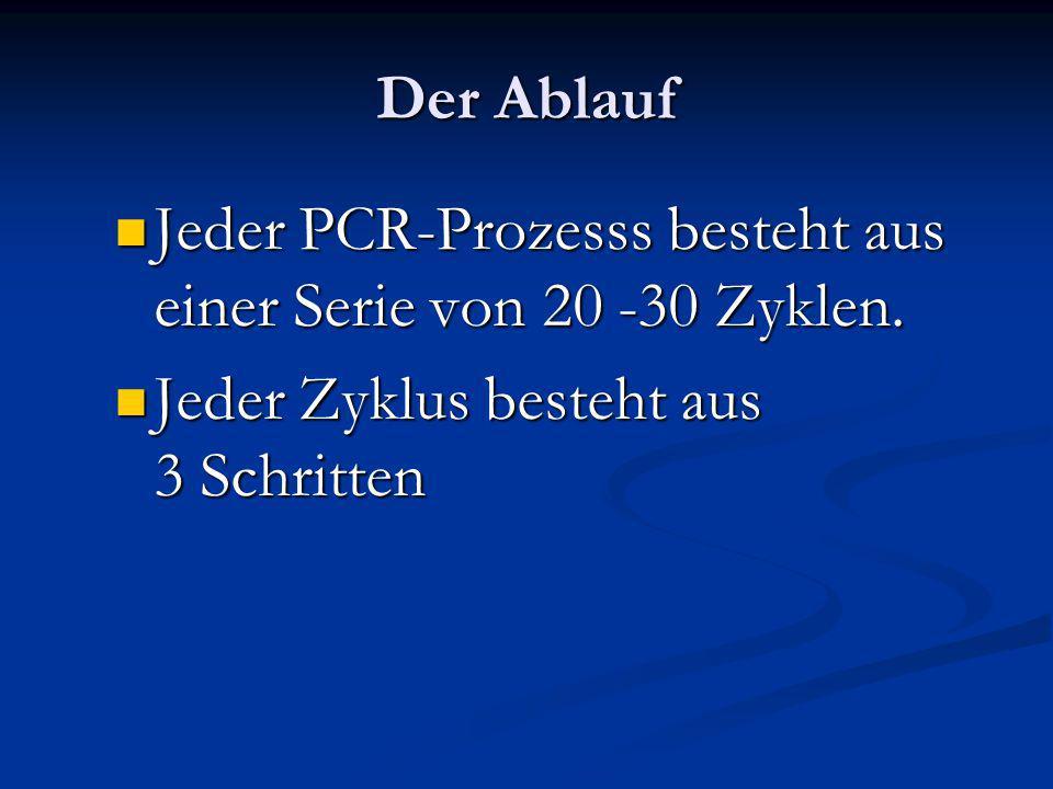 Der Ablauf Jeder PCR-Prozesss besteht aus einer Serie von 20 -30 Zyklen. Jeder PCR-Prozesss besteht aus einer Serie von 20 -30 Zyklen. Jeder Zyklus be