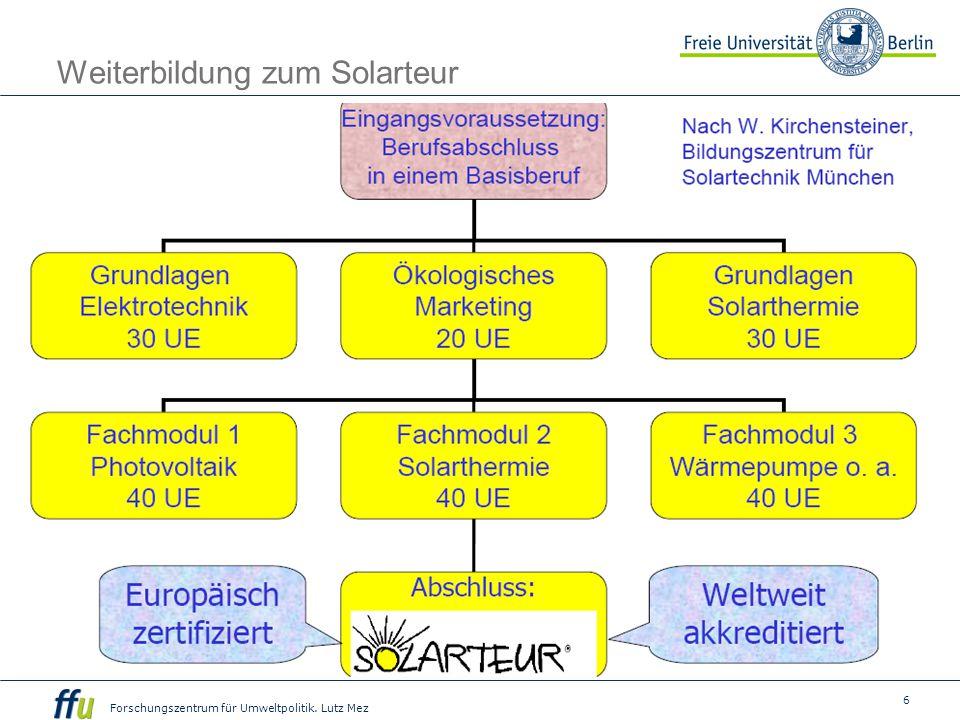 6 Forschungszentrum für Umweltpolitik. Lutz Mez Weiterbildung zum Solarteur