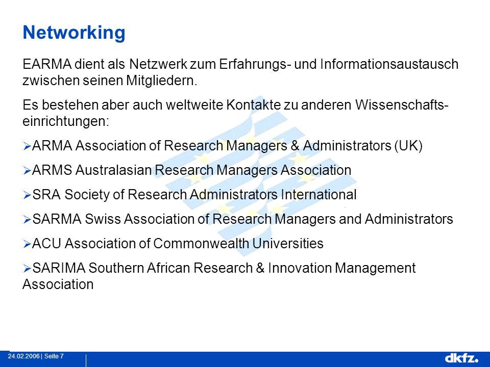 Seite 724.02.2006 | Networking EARMA dient als Netzwerk zum Erfahrungs- und Informationsaustausch zwischen seinen Mitgliedern.