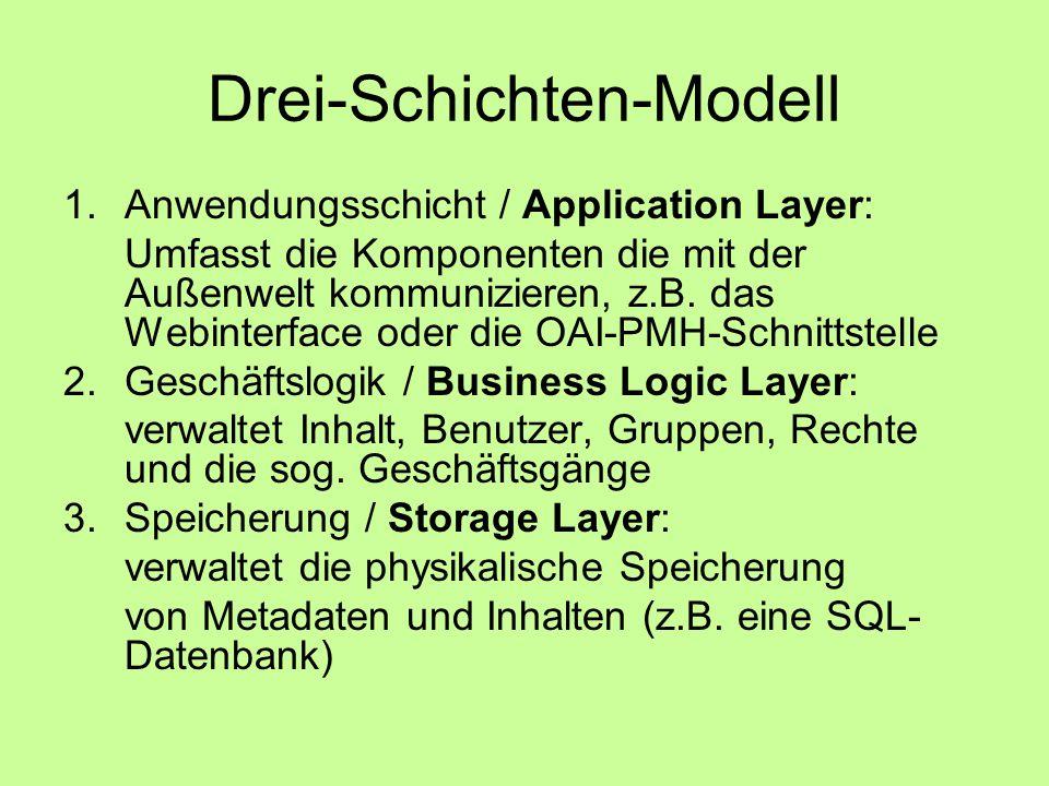 Drei-Schichten-Modell 1.Anwendungsschicht / Application Layer: Umfasst die Komponenten die mit der Außenwelt kommunizieren, z.B.