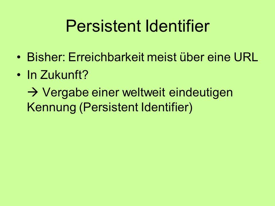 Persistent Identifier Bisher: Erreichbarkeit meist über eine URL In Zukunft.