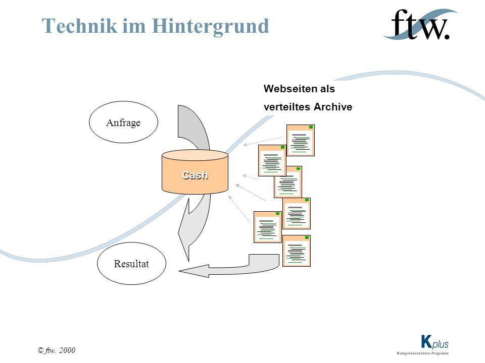 © ftw. 2000 Technik im Hintergrund Cash Anfrage Resultat Webseiten als verteiltes Archive
